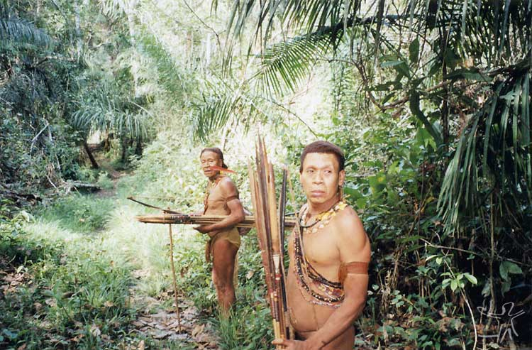 Porak and Kunibu with bows and arrows. Photo: Adelino de Lucena Mendes, 2002.