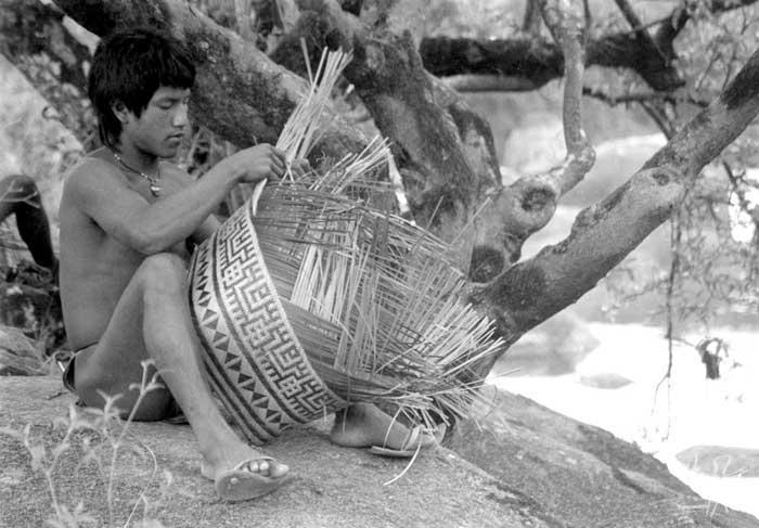 O aparai Sanari fazendo um cesto na aldeia Maxipurimo. Foto: Paula Morgado, 1992.