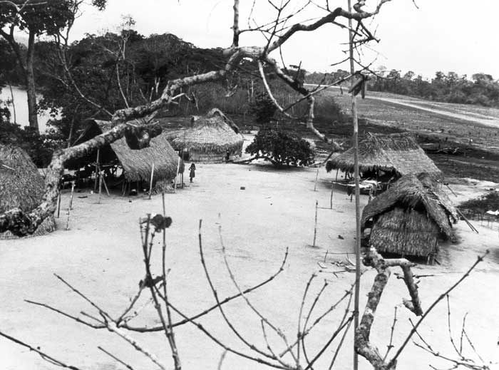 Vista parcial da aldeia Bona Vista parcial da aldeia Bona (antigo nome da aldeia Apalai). Terreiro Central, peloto, e casas familiares. No fundo, campo de pouso da FAB. Foto: Daniel Schoepf, 1972.
