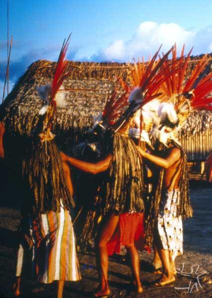 Festa de Okomo (em aparai; eputop em wayana). Foto: Lúcia H. van Velthem, 1975.