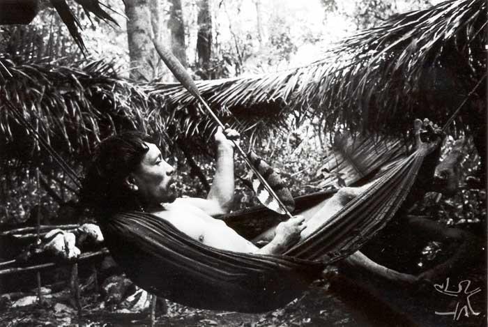 Flecha grossa para caça, com ponta de taquaruçu (Guadua sp.) e emplumada com penas caudais de gavião-real. Foto: Eduardo Viveiros de Castro, 1981.