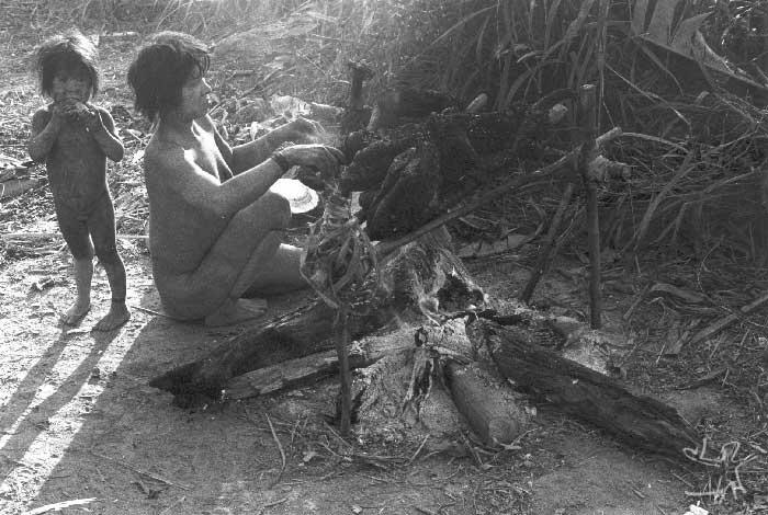 Mulher Cinta Larga moqueando porco do mato(caititu). Foto: Kim-Ir-Sen, 1981.