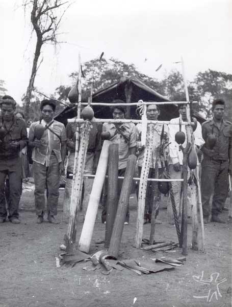 Festa Avati Kyry - Batismo do milho entre os Kaiowa na aldeia Takwapiry. À frente, os instrumentos femininos takuapu e os mbaraka masculinos. Foto: Rubem T. de Almeida, 1978.