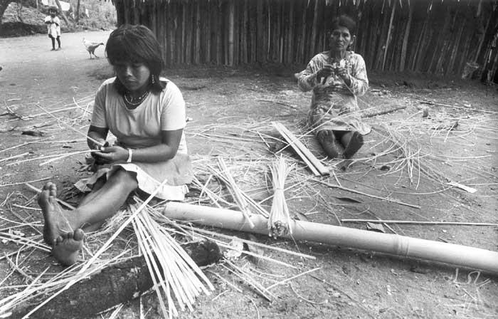 Mulheres guarani mbya na aldeia de Bracuí, em Angra dos Reis (RJ). Foto: Milton Guran, 1988.