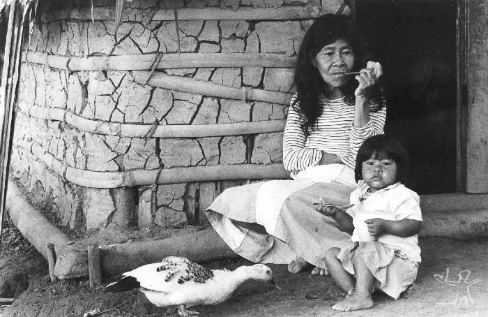 Avó e neta na aldeia guarani mbya de Bracuí, em Angra dos Reis (RJ). Foto: Milton Guran, 1988.