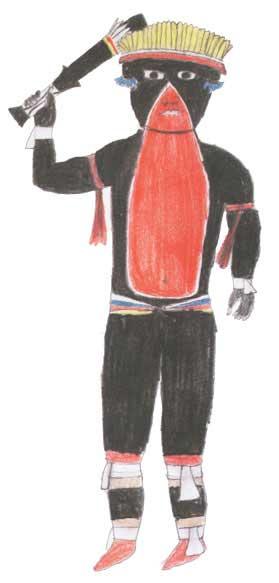 Guerreiro ikpeng. Desenho: Maiua Ikpeng, 2001