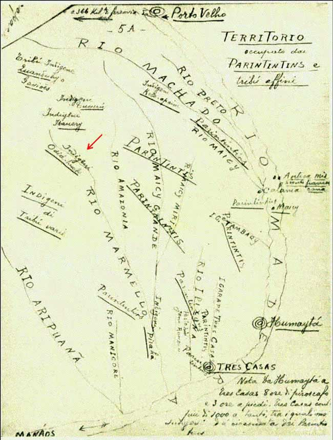 Mapa da década de 30 localizando os Jiahui (Indigeni Odia hueb), presente em obra de Vitor Hugo de 1959, em que o Norte está voltado para baixo. Anotação vermelha de Edmundo Peggion.