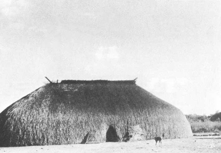 As diversas fases de construção de uma casa kamaiurá. Foto: Carmen Junqueira, 1972.