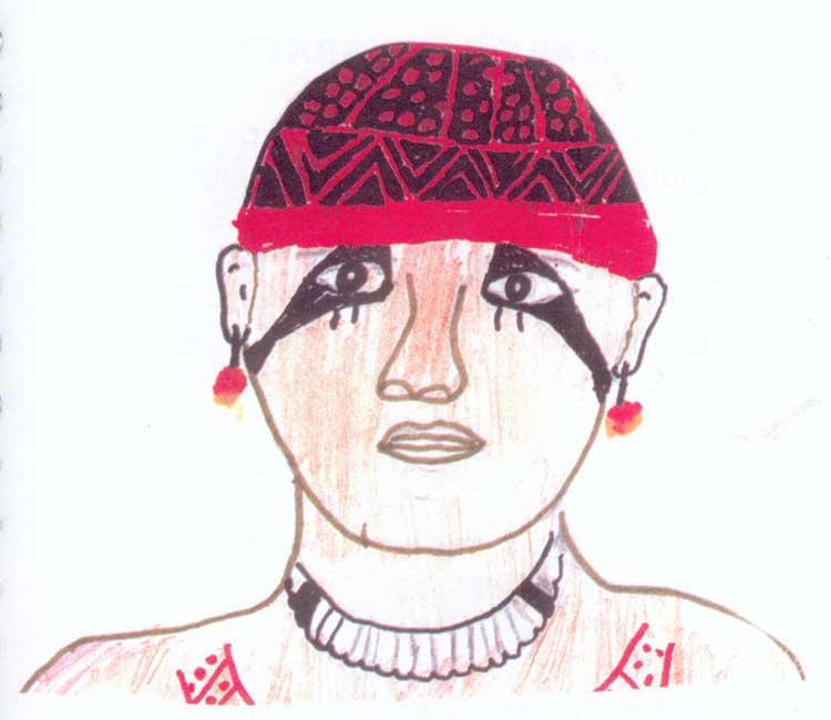 O herói cultural Mavutsinin. Desenho: Wary Kamaiurá, 1999.