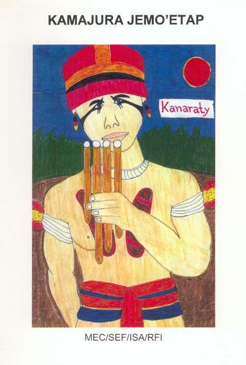 Capa da cartilha kamaiurá. Desenho: Kanawayuri Kamaiurá, 1998.