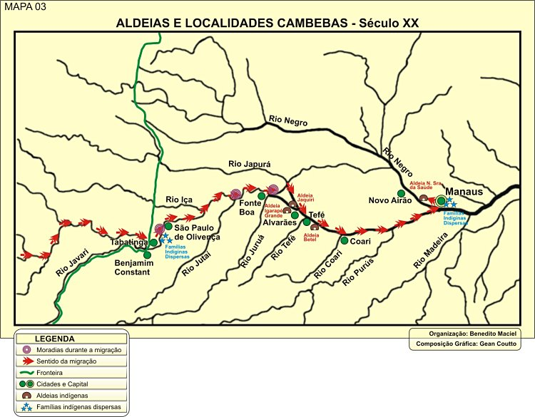 Mapa das aldeias e localidades Kambeba – séc. XX.
