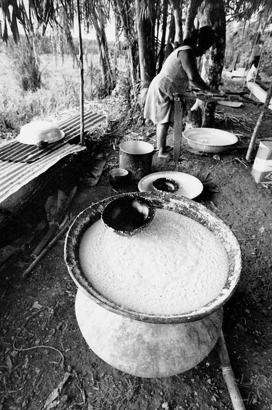 Preparando caxiri. Foto: Vincent Carelli, 1982.