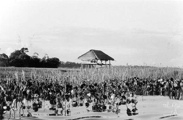 Habitação palikur à beira do Rio Urukauá. Foto: Simone Dreyfus, 1978