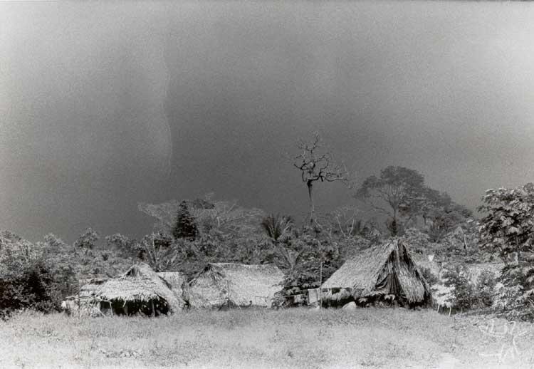 Habitações no Igarapé Bom Jardim. Foto: Carlos Fausto, 1988.