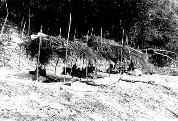 Acampamento Pirahã, próximo a Transamazônica. Rio Maici. Foto: Ezequias Hering, 1981