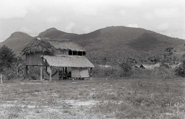 Habitação na aldeia Sorocaima, própria para regiões alagadiças. Foto: Eliane Motta, 1984.