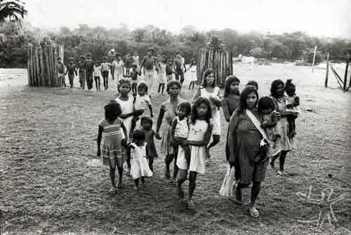 Festa do Wiraohawo-i para marcar a introdução da carne na dieta das crianças. Foto: Vincent Carelli, 1980