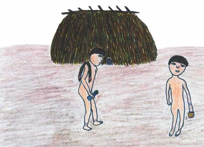 Casa no modelo alto-xinguano. Desenho: Mawakulu Trumai, 1999