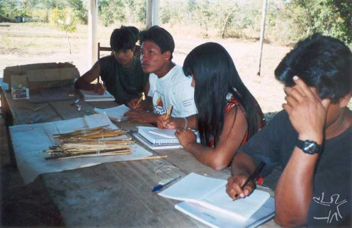 Escola Indígena Estadual da Aldeia Boa Esperança Resolução e elaboração de problemas de adição, subtração e multiplicação utilizando o ábaco. Foto: Maria Cristina Troncarelli, 2000