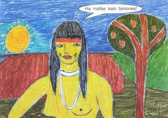 Eu quero comer pequi!. Desenho: Takap Pi'yu Trumai Kaiabi, 1999