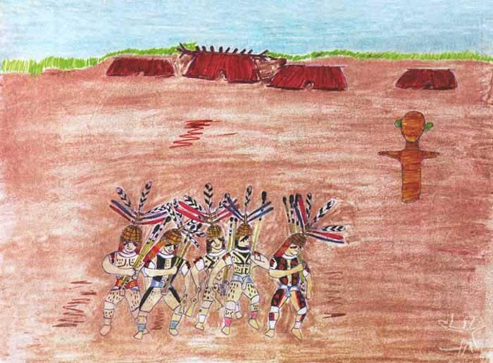 Festa do Jawari, introduzida pelos Trumai no Alto Xingu. Desenho: Takap Pi'yu Trumai Kaiabi, 2000