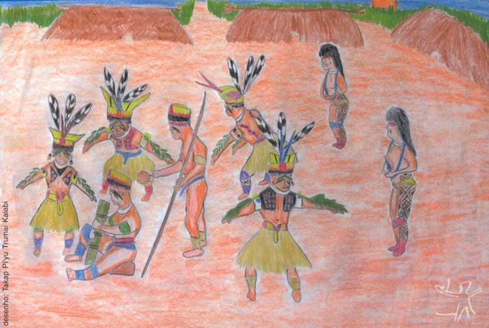 Festa do Tawarawanã . Desenho: Takap Pi'yu Trumai Kaiabi, 2000
