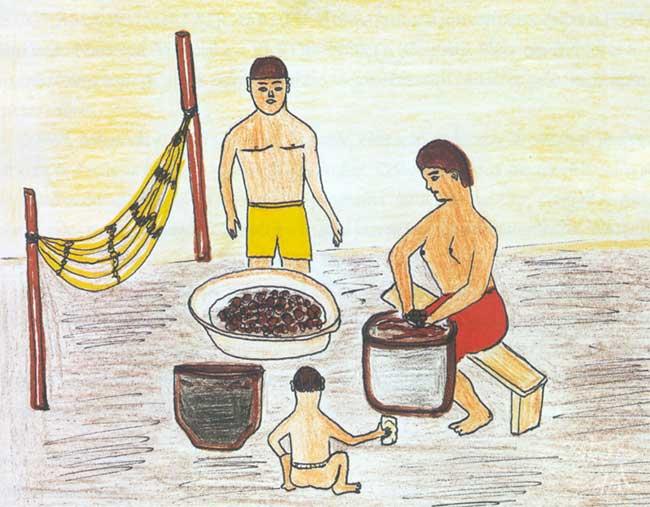Mulher preparando bebida feita de açaí. Desenho: Mepeni, 1999.