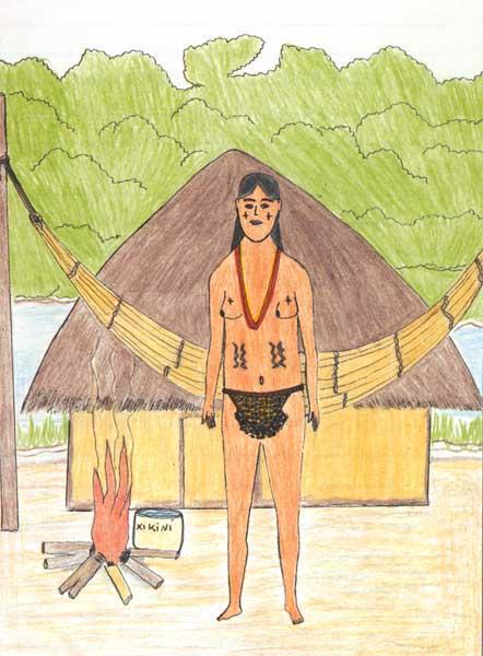 Mulher com tanga tradicional utilizada na época dos primeiros contatos com os brancos. Desenho: Iarymaky, 1999.