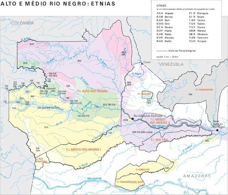 Representação da diversidade étnica do Médio e Alto Rio Negro. Devido às caracteríticas sócio-culturais da região, no entanto, não há como não fazê-lo sem simplificações. Muitos povoados são ocupados por várias etnias, que algumas vezes utilizam não só lí