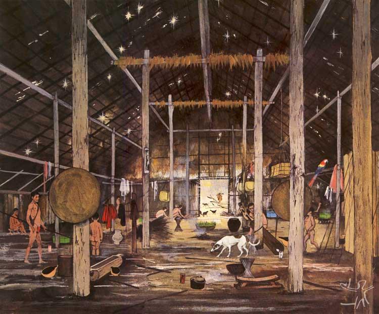 Cena cotidiana no interior de uma maloca. Ilustração de Maurice Wilson, presente em livro de Hugh-Jones, 1978