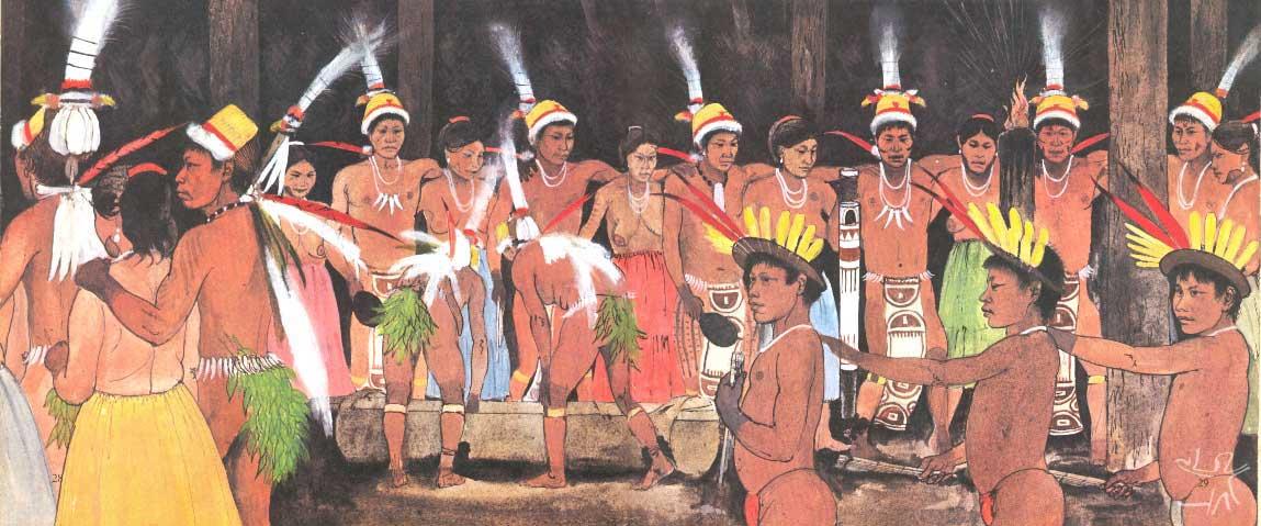 Uma festa de oferenda, chamada em Língua Geral de Dabucuri. Ilustração: Maurice Wilson (in S. Hugh-Jones, 1978).
