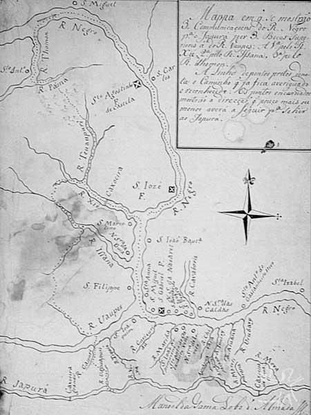 Mapa da região do Alto do Rio Negro elaborado por Manuel da Gama Lobo d' Almada, governador do Rio Negro, onde permaneceu entre 1784 e 1795. Realizou diversas expedições por esse rio e afluentes, em especial o Rio Branco, devido aos conflitos de fronteira