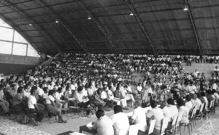 II Assembléia dos Povos Indígenas do Rio Negro em São Gabriel: fundação da FOIRN. Foto: Beto Ricardo, 1987.