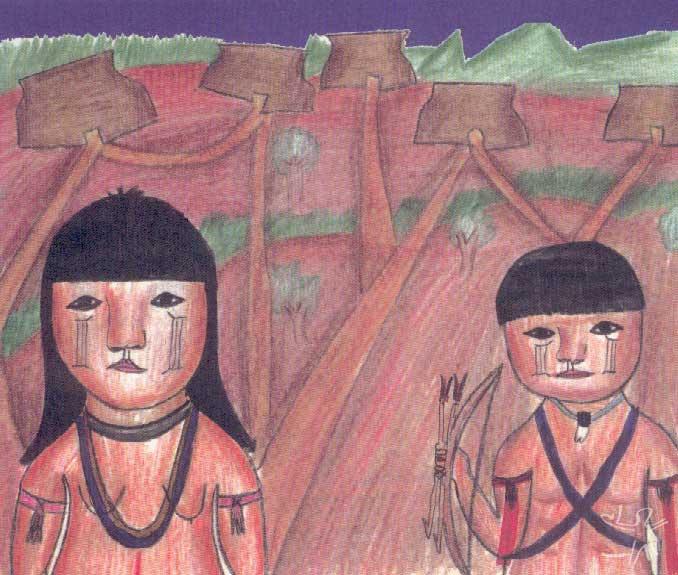 Representação de crianças com a pintura e paramentos ikpeng. Desenho: Opote e Maiua Ikpeng, 2001.