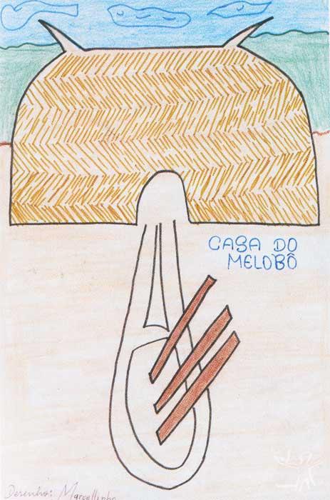 Moradia ikpeng (de um de seus membros, Melobô) representada por um kalapalo. Desenho: Tahugaki Kalapalo, 2001.