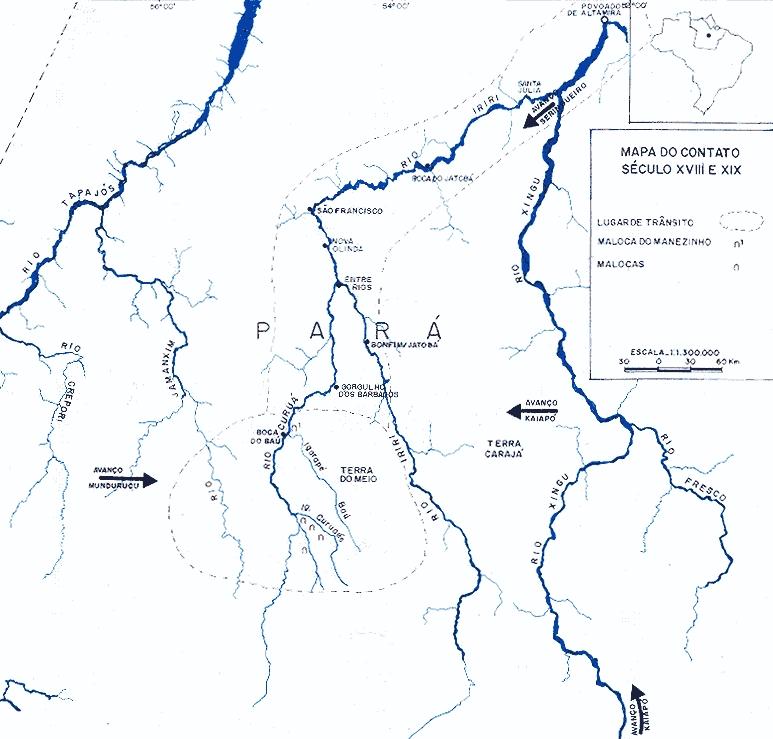 Histórico da ocupação Kuruaya dos séculos XVII a XIX. Mapa: Marlinda Melo Patrício, 1997.