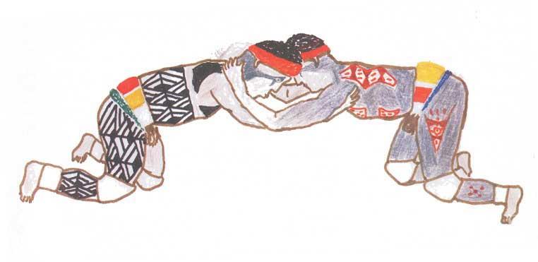 Homens lutando huka-huka. Desenho: Sepé Kuikuro, 1997.