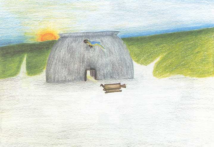 Casa comunal típica do Alto Xingu, com banco zoomorfo na frente. Desenho: Makaulaka Mehinako, 2002