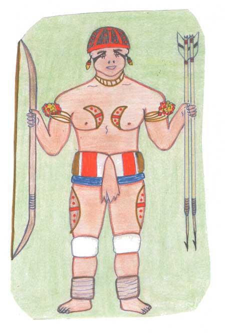 Índio paramentado para um Kwarup. Desenho: Kanawayuri Kamaiurá, 1998