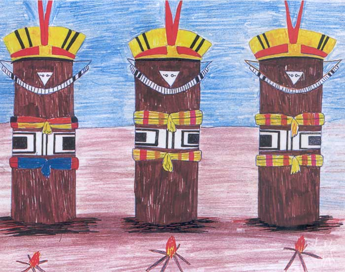 Troncos de Kwarup. Desenho: Aisanain Paltu Kamaiurá, 1998