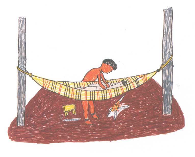 Xamã realizando uma cura. Desenho: Mawakulu Trumai, 1999.
