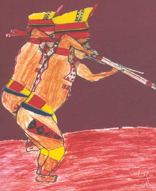 Representação de dois xamãs kuikuro. Desenho: Jaluiké Kuikuro, 2001.