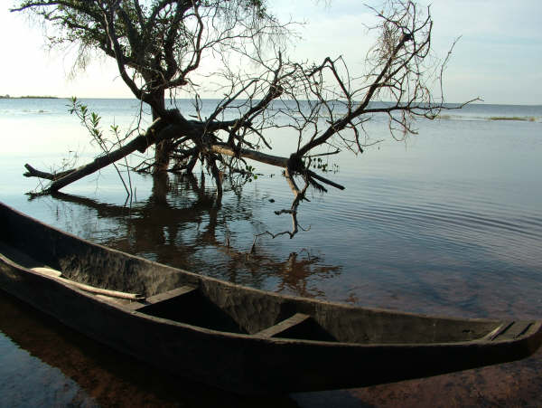 Guató canoe on the shore of Uberaba lake, Ínsua Island, Guató Indigenous Territory. Photo: Suki Ozaki, 2006