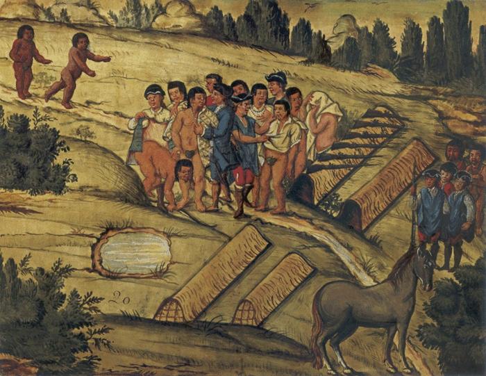 Conquista dos Campos de Guarapuava. Chegão os novos Indios ao arranchamento, tirão os Camaradas da sua rôpa quanto puderão até ficarem alguns sem camiza, e só os ponches cubertos, e os vestem. Guache e aquarela: atribuído a José de Miranda, século XVIII.