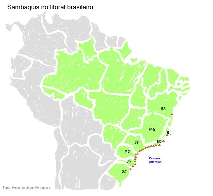 Sambaquis no litoral brasileiro. Fonte: Museu da Língua Portuguesa.