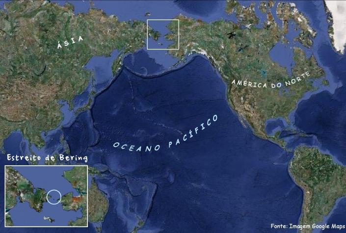 Estreito de Bering. Fonte: Google Maps