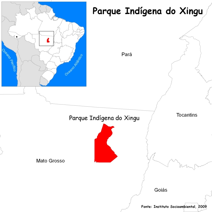 Localização do Parque Indígena do Xingu. Fonte: Instituto Socioambiental, 2009.