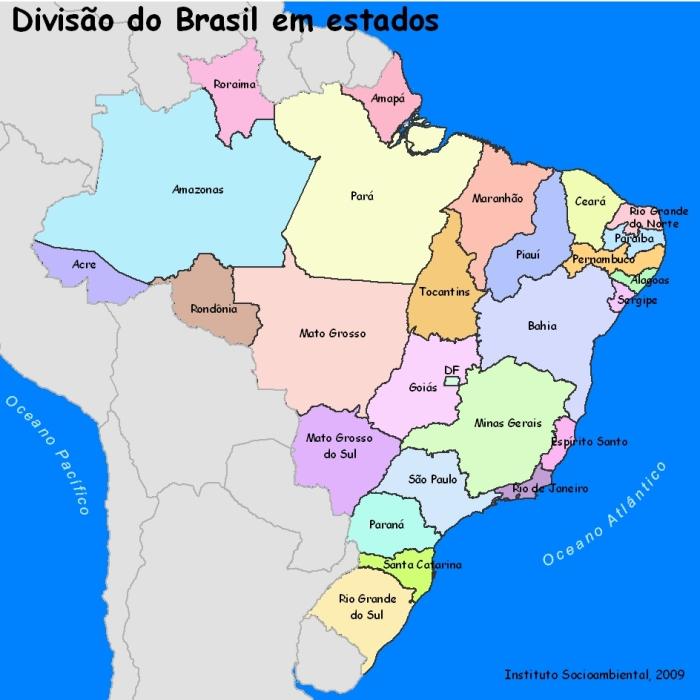 Divisão do Brasil em estados. Instituto Socioambiental, 2009.