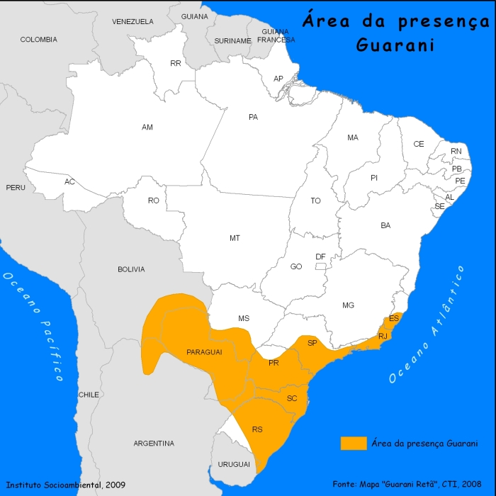 Source: Instituto Socioambiental and Guarani Retã map from Centro de Trabalho Indigenista (CTI), 2008.
