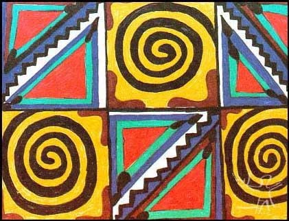 Desenho kadiweu publicado em VIDAL, Lux (org.). Grafismo Indígena. Studio Nobel, Fapesp, Edusp, SP, 1992.